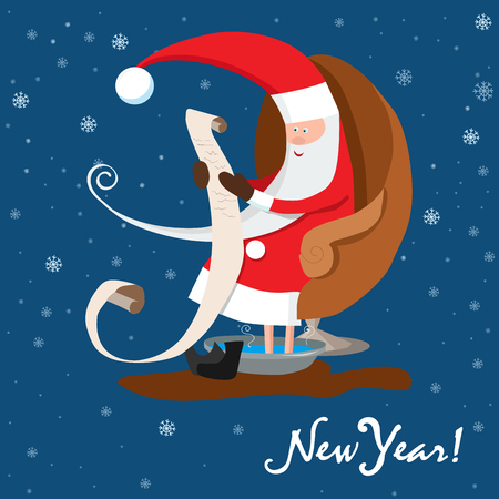 Santa Claus is reading letter. New Year wishes vector illustration.