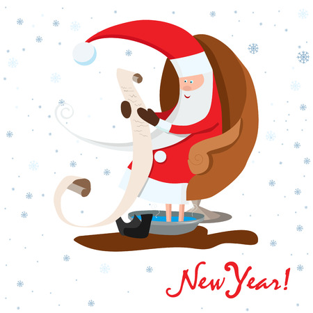 Santa Claus is sitting in the armchair. Santa Claus is reading vector illustration.