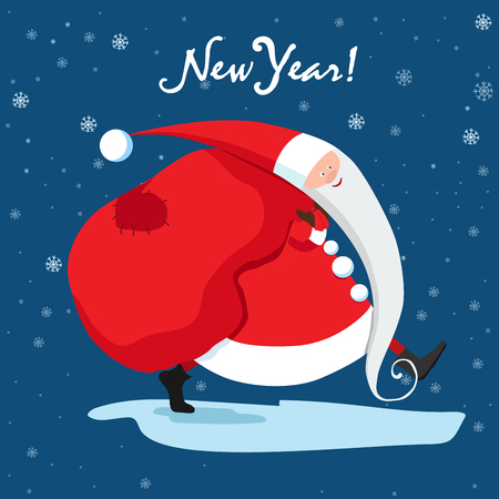 Santa Claus is carrying gifts. Blue New Year card vector illustration. 向量圖像