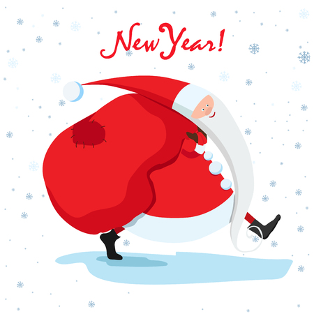 New Year card with gifts and Santa vector illustration. 向量圖像
