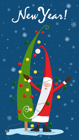 Santa Claus dresses the Christmas tree with garland.   Christmas card vector illustration. 向量圖像