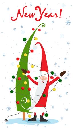 Christmas tree. Santa Claus and the garland. Christmas vector illustration.