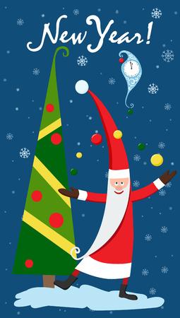 Christmas card with Christmas tree card vector illustration. 向量圖像