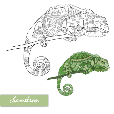 Chameleon with doodle pattern. Stock Illustratie