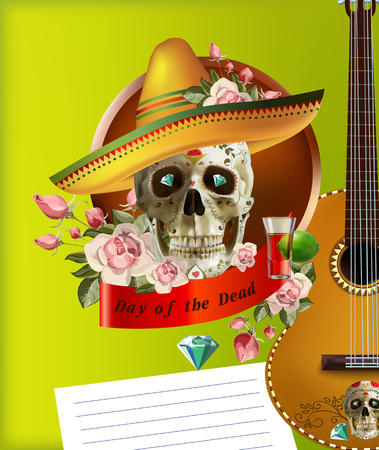 Cinco de mayo card template with mask and maracas illustration.festival poster design. vector Illustration