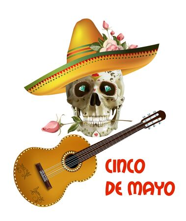 Cinco de Mayo emblem design with lettering, sombrero and guitar - symbols of holiday. Isolated Vector illustration. vector