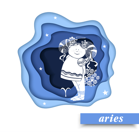 Aries. Paper art Aries of zodiac and horoscope concept, vector art and illustration.Children horoscope. vector