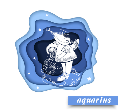 Paper art Aquarius of zodiac and horoscope concept, vector art and illustration. Children horoscope.