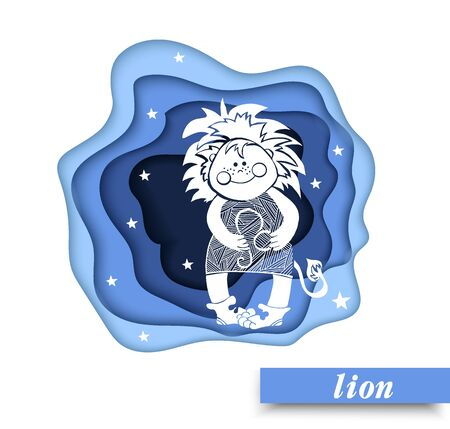 Paper art lion of zodiac and horoscope concept, vector art and illustration. Illustration