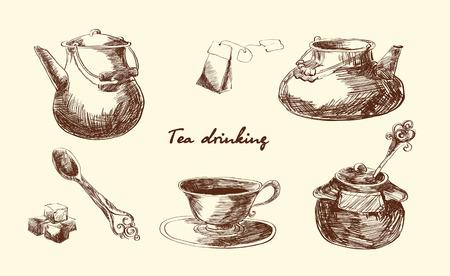 Set for tea drinking. Sketch.Menu. Vector