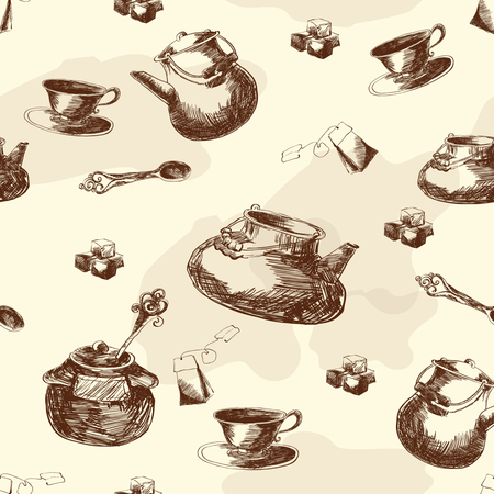 Seamless pattern for the kitchen. Wallpaper for the dining room. Tea drinking. Sketch. Vector