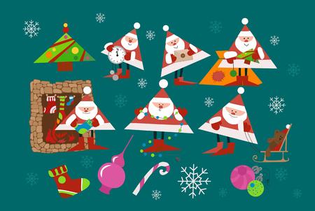 Collection of Christmas Santa Claus. Set of funny cartoon hero. Vector illustration