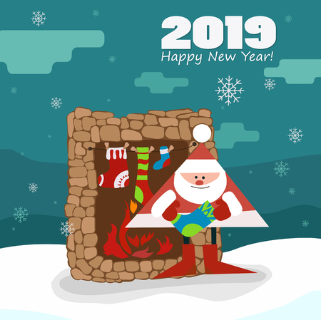New Year picture. Santa by the fireplace. Gifts. New Year. vector illustration