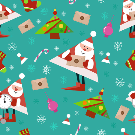 Seamless New Year pattern on green background. Candys, christmas tree and snowflake. vector illustration 向量圖像