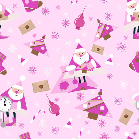 Seamless New Year pattern on pink background.Santa. Candys, christmas tree and snowflake. vector illustration 向量圖像