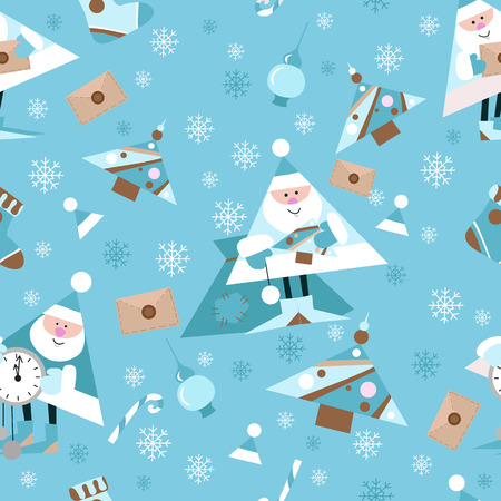 Seamless New Year pattern on blue background. Candys, christmas tree and snowflake. vector illustration