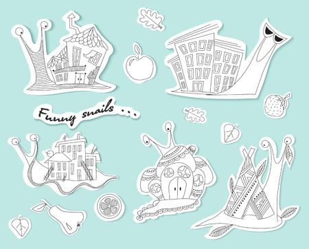 Set of funny snails. Sketch. Ahatina snail. Vector
