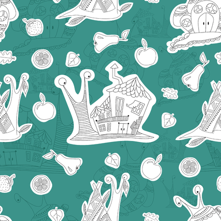Seamless pattern with merry snails. Sketch. Wallpaper. Vector
