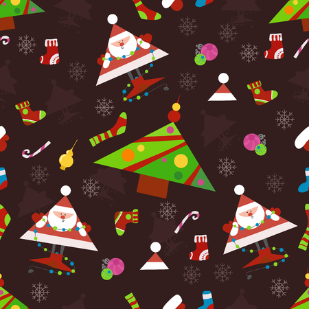 Seamless New Year pattern on a brown background . Candys, christmas tree and snowflake. vector illustration