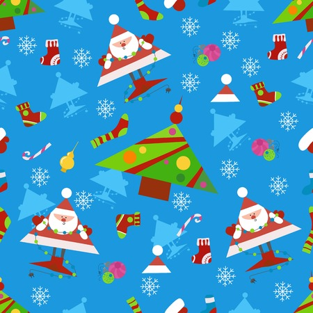 Seamless New Year pattern on a blue background . Candys, christmas tree and snowflake. vector illustration