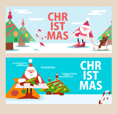 Cards for the new year with Santa Claus. Beautiful pictures. Vector illustration 向量圖像