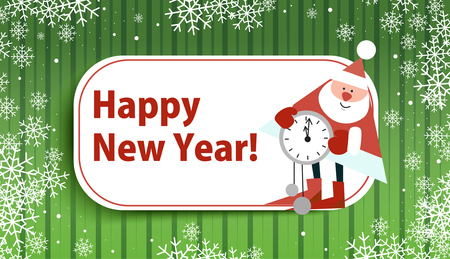 Card for the new year with Santa Claus on a green background. Beautiful pictures. Vector illustration