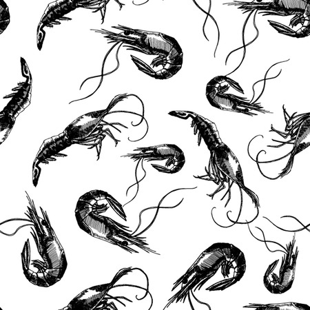 Seamless pattern with shrimps. Marine wallpapers. Illustration