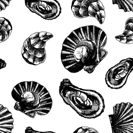 Seamless pattern with marine inhabitants. Marine wallpapers. Vector