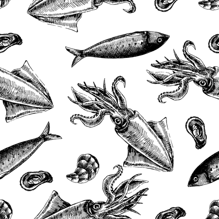 Seamless pattern with fish and shellfish. Marine wallpapers. Vector