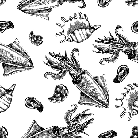Seamless pattern with squid and clams. Marine wallpapers. Vector