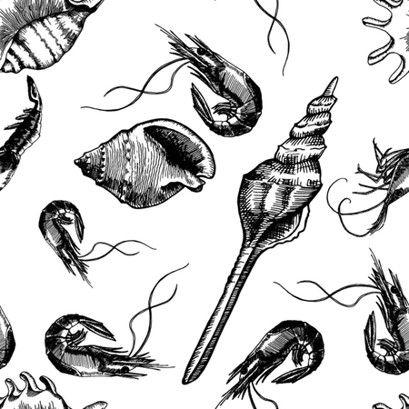 Seamless pattern with shrimps and seashells. Marine background. Marine residents. Vector 向量圖像