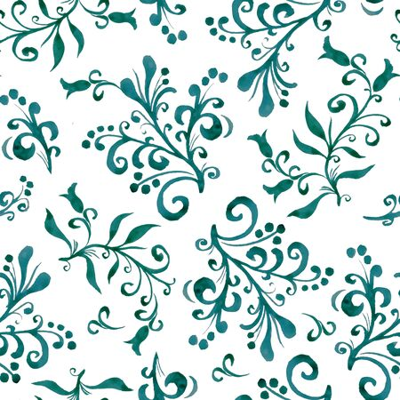 Floral seamless pattern with leaves and berries. Hand drawing. Background for title, blog, decoration. Design for wallpapers, textiles, fabrics.