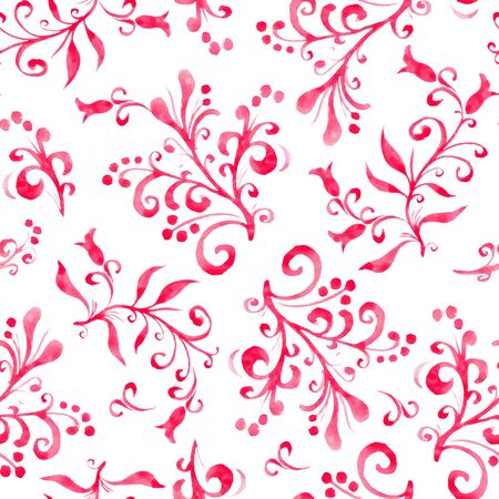 Floral seamless pattern with leaves and berries. Hand drawing. Background for cover, image for blog, design for wallpapers, textiles, fabrics. Imagens