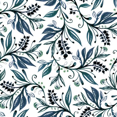 Floral watercolor seamless pattern with leaves and berries in green and blue colors on white background. Hand drawing and digitized. Design for wallpaper, textile, fabric, bookend, wrapping. Imagens