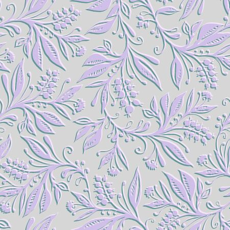 Floral seamless pattern with leaves and berries. Hand drawing. Background for title, image for blog, decoration. Design for wallpapers, textiles, fabrics.