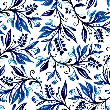 Floral watercolor seamless pattern with leaves and berries in blue colors on white background. Hand drawing and digitized. Design for wallpaper, textile, fabric, bookend, wrapping.