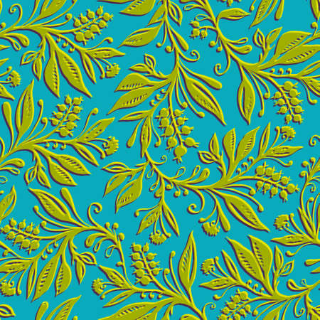Floral seamless pattern with leaves and berries. Hand drawn and digitized. Background for title, image for blog, decoration. Design for wallpapers, textiles, fabrics. Ilustração