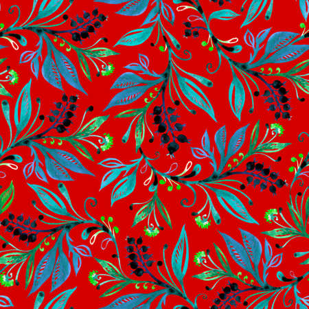 Floral watercolor seamless pattern with leaves and berries in green and blue colors on red background. Background for title, image for blog, decoration. Design for wallpapers, textiles, fabrics, wrappers.