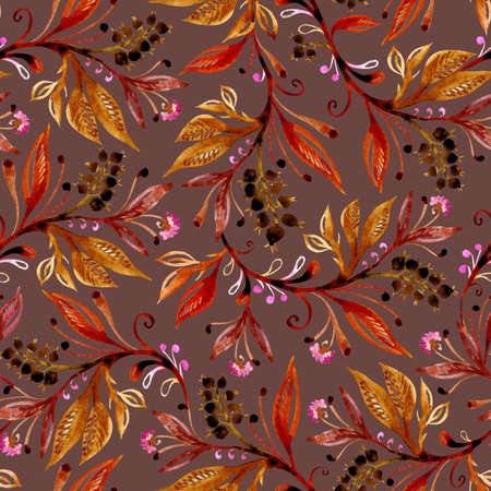 Floral watercolor seamless pattern with leaves and berries in autumn colors on brown background. Background for title, image for blog, decoration. Design for wallpapers, textiles, fabrics, wrappers. Imagens