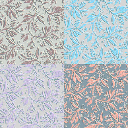 4 Floral seamless patterns with leaves and berries. FHand drawing. Background for title, image for blog, decoration. Design for wallpapers, textiles, fabrics.