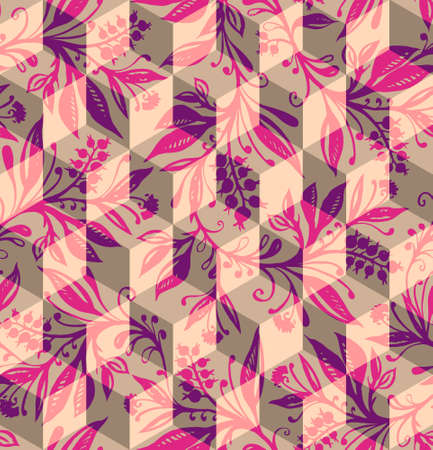 Isometric geometric seamless pattern with overlay of hand-drawn and traced floral pattern, can be used in cover design, book design, poster, cd cover, flyer, website background or advertising.