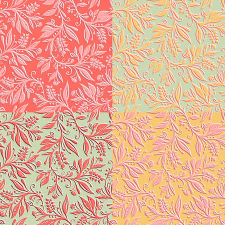 4 Floral seamless patterns with leaves and berries. Hand drawn and digitized. Background for title, image for blog, decoration. Design for wallpapers, textiles, fabrics.