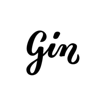 Calligraphy lettering Gin. Hand-drawn and digitized. Vector inscription. Isolated on white background. Restaurant cafe menu title, for bar poster sticker label. 일러스트