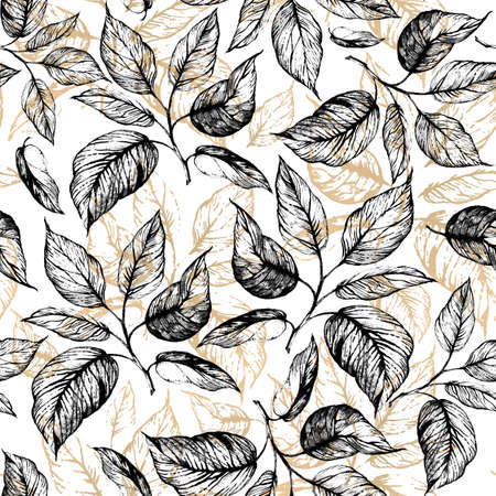 Seamless pattern - Hand drawn twig with leaves in gray scale and leaves contour of golden foil on white. Design for wallpaper, textile, fabric, bookend, wrapping.