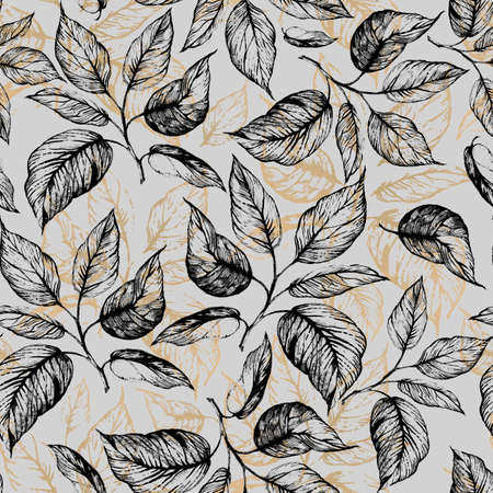 Seamless pattern - Hand drawn twig with leaves in gray scale and leaves contour of golden foil on grey background. Design for wallpaper, textile, fabric, bookend, wrapping.