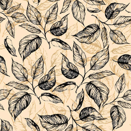 Seamless pattern - Hand drawn twig with leaves in gray scale and leaves contour of golden foil on beige background. Design for wallpaper, textile, fabric, bookend, wrapping. Imagens