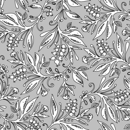 Floral seamless pattern with leaves and berries in grayscale. Hand drawing. Background for title, blog, decoration. Design for wallpapers, textiles, fabrics.