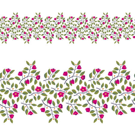 Floral seamless border, branches with leaves and bright magenta flowers on white. Vector illustration, design for poster, banner, invitation, book, fashion fabric, wrapping.