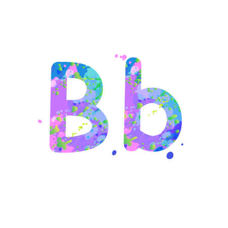 Letters B uppercase and lowercase with effect of liquid spots of paint in blue, green, pink colors, isolated on white background. Decoration element for design of a flyer, poster, cover, title. Vector Vecteurs