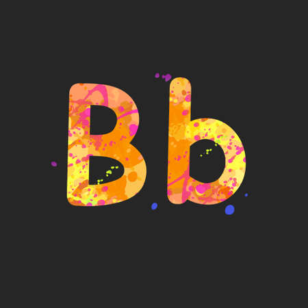 Letters B uppercase and lowercase with effect of liquid spots of paint in yellow, orange, purple colors, isolated on dark grey. Decoration element for design of a flyer, poster, cover, title. Vector